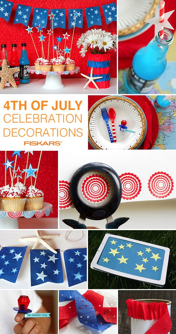 From banners, to place settings, to cupcake toppers and everything in between. We've got you covered to throw the perfect DIY 4th of July party with red, white and blue decorations.