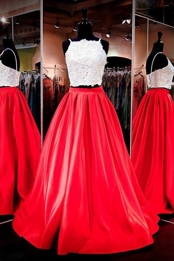 Two-piece Square Neck Red Prom Dresses Evening Dresses,