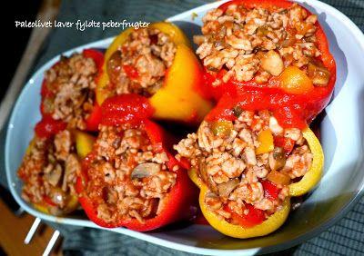 Paleolivet: Fyldte peberfrugter med hakket kylling.