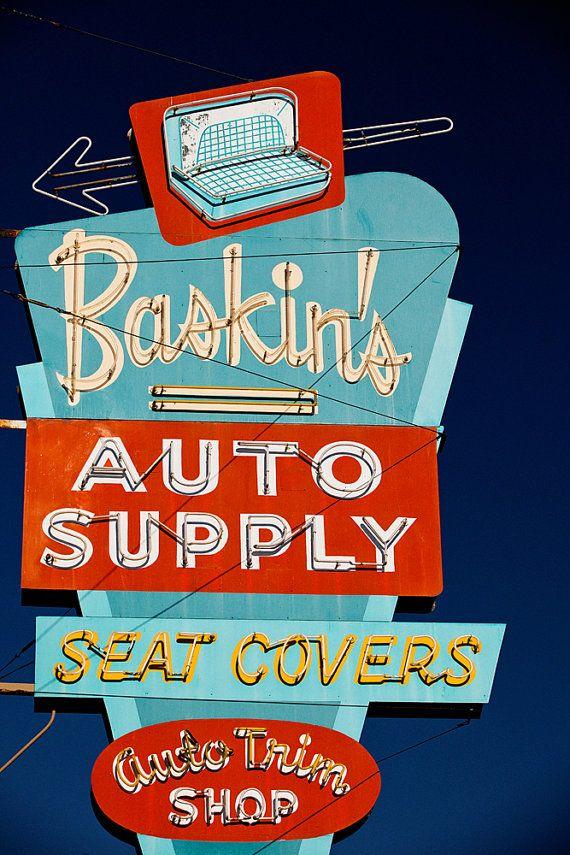 Baskin's Auto Supply Vintage Neon Sign print by RetroRoadsidePhoto, $180.00