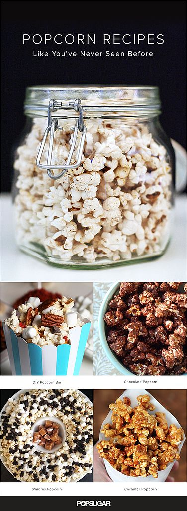 There's really only one appropriate way to celebrate a party, a movie marathon, or an awards show: by popping some corn kernels, of course. But there's more than just the butter-flavored stuff out there. Caramel, cinnamon, and s'mores are just a few drool-worthy popcorn recipes we've compiled, all guaranteed to get your pop on.