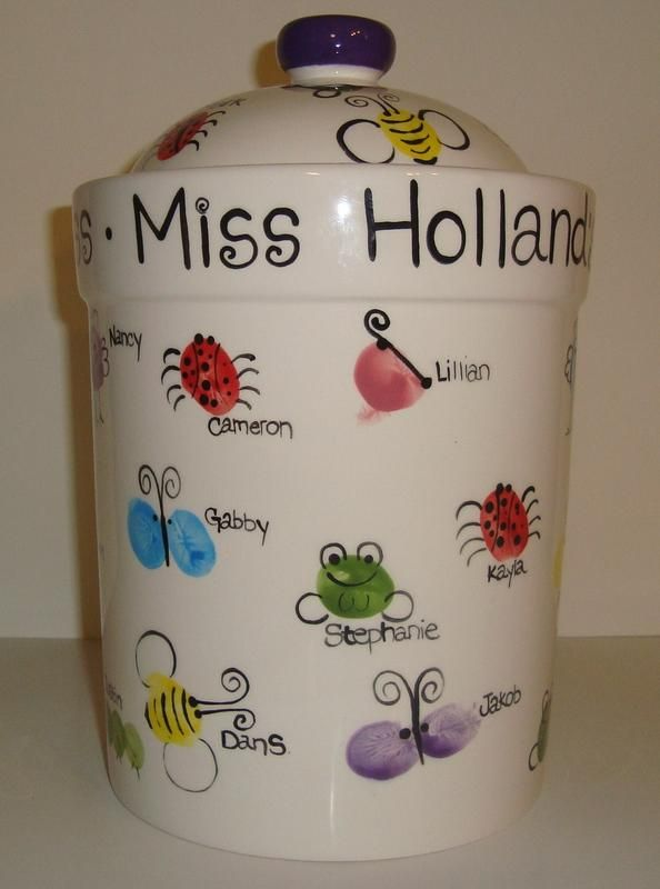 Cookie jar/treat jar - if only we could figure out how to get all the kids' finger prints without the teachers knowing!