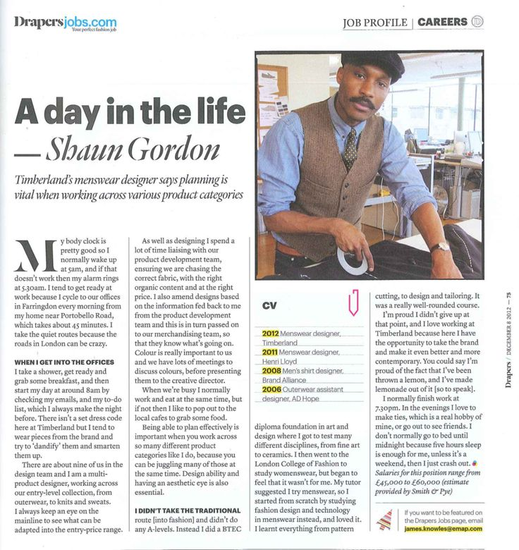 "Shaun Gordon in Drapers Record ""A Day in the Life"" feature, 08/12/2012."