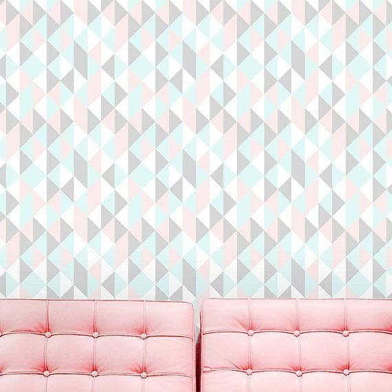 Papier peint autocollant / Stickers mural geometrique triangle pastel / Self adhesive vinyl temporary removable wallpaper, wall decal -Pastel kaleidoscope Triangle cover - 068