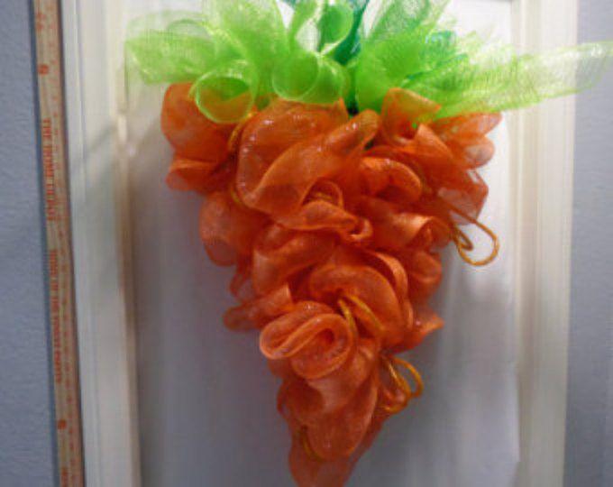 Corona de zanahoria de Pascua, Deco malla guirnalda, guirnalda de puerta, guirnalda de Pascua, vacaciones guirnalda, guirnalda de primavera, guirnalda conejo,