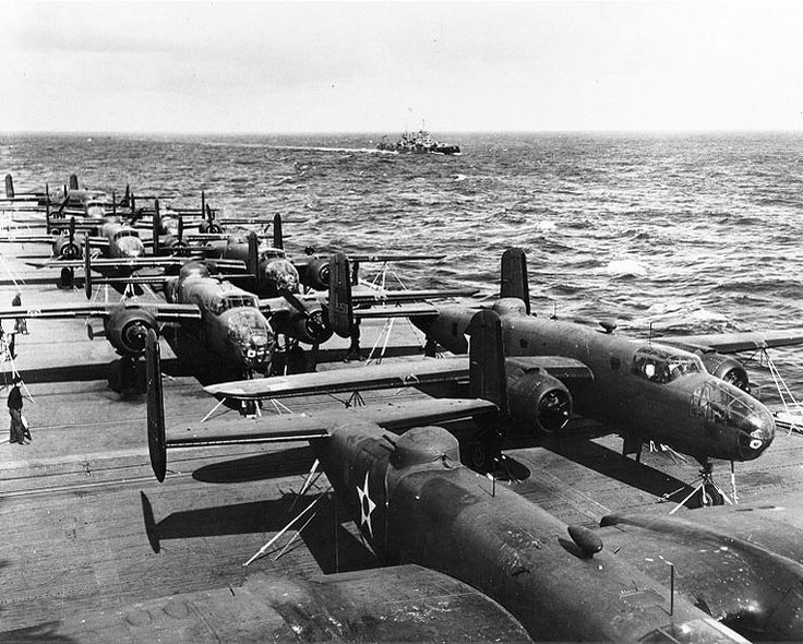 B-25 Mitchell Bomber - Doolittle Hornet flight deck April 1942