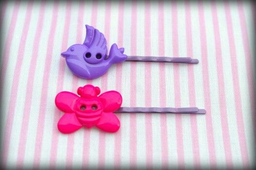Cute button bobby pins on 5cm lilac pin.  These and others available for sale at www.facebook.com/sewprettylisajean or email www.sew.pretty@hotmail.co.uk x