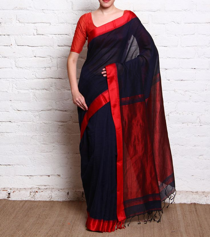 Navy Blue Linen Handloom Saree