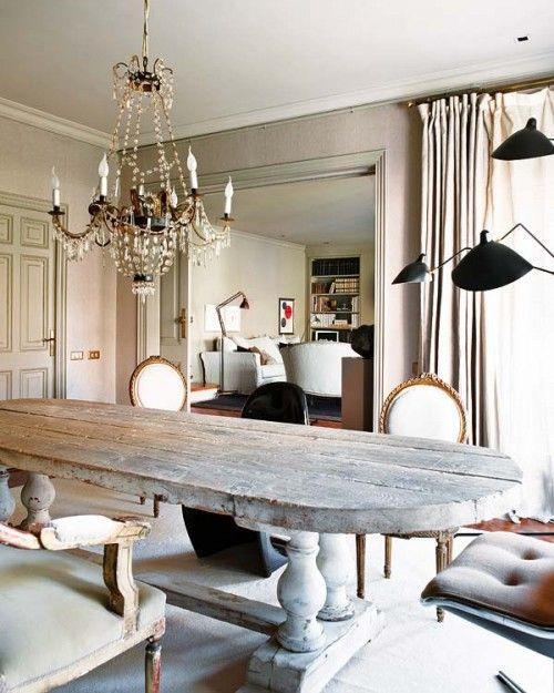 Wonderful oversized kitchen/dining room table made from reclaimed wood and upcycled architectural wood turned legs.  Beautiful!!!