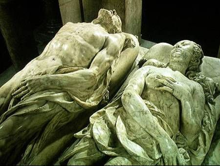 the bizarre sculpted effigies on the Tomb of Catherine de Medici and Henry II, by sculptor Germain Pilon in the Valois Chapel, 1583 - Basilica St. Denis - Paris