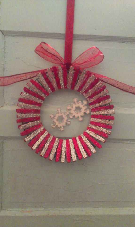 Snowflake Clothespin Wreath