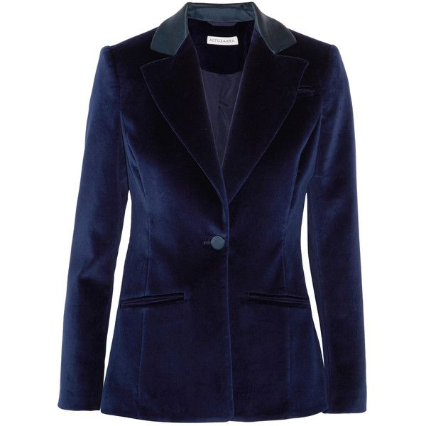 Altuzarra Acacia cotton-blend velvet blazer ($1,780) ❤ liked on Polyvore featuring outerwear, jackets, blazers, collar jacket, navy blue blazer, velvet blazer, velvet jacket and tailored jacket