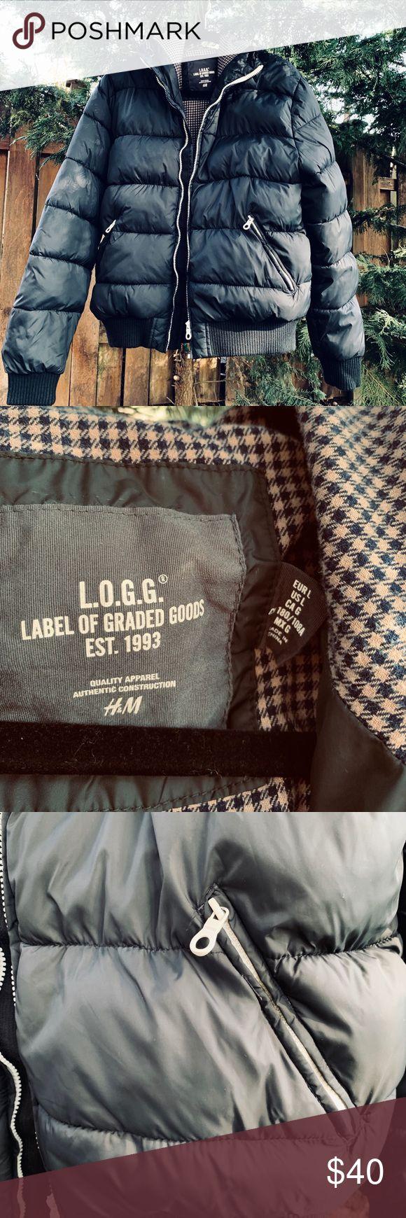 Men's H&M Black Hooded Puffer Jacket Sz L Puffer jackets