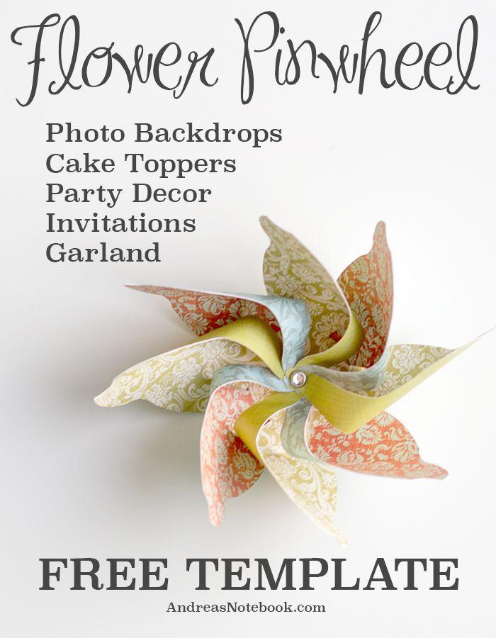 FREE template for this fun floral pinwheel. Make lots of flower pinwheels!