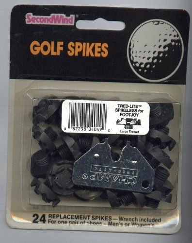 Tred-Lite Spikeless Second Wind Golf Spikes by Second Wind. $2.98. Tred-Lite Spikeless for Footjoy Large Tread Golf Spikes. 24 Per pkg. includes Wrench. For one pair of shoes - Men's or Womens - Large Thread - Spikes are intended for use only on dry, flat grassy surfaces. They are not intended for use on damp or hilly surfaces, because they may not provide adequate traction on such surfaces. They are not intended for use on hard surfaces such as concrete, ice, roc...