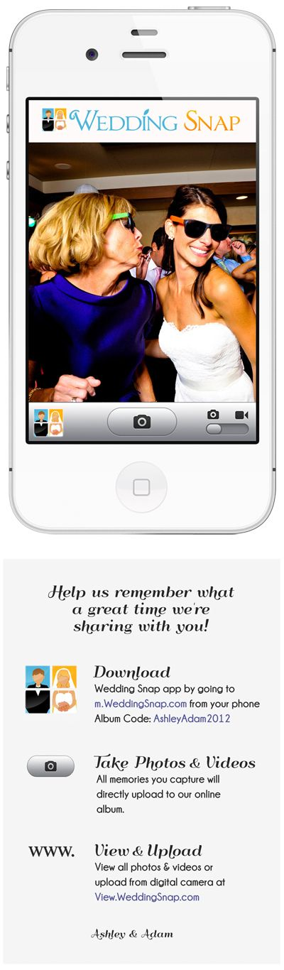 Brilliant! Instantly collect ALL your guests' photos & VIDEOS in a beautiful online album to view & share with your family & friends. www.WeddingSnap.com