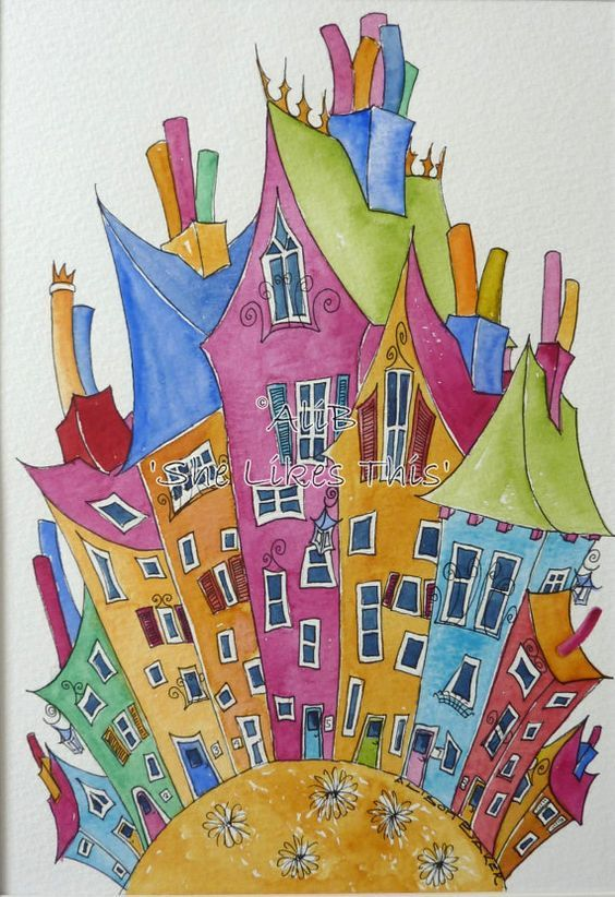 Colourful and cheerful houses on the hilltop An by shelikesthis, £45.00: