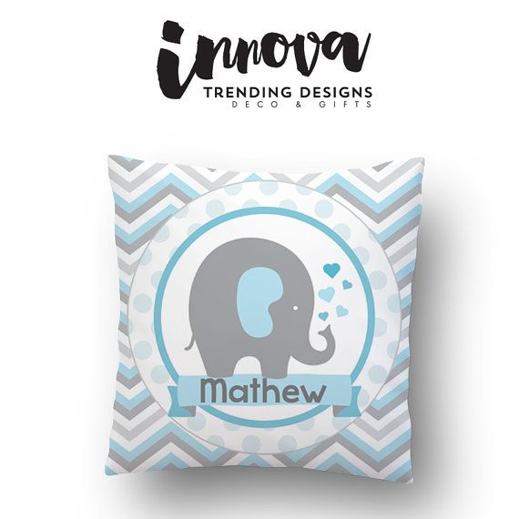 14x14 in Blue PERSONALIZED NAME PILLOW for baby  by innovatrending