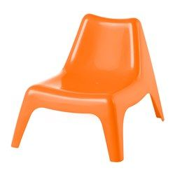 IKEA - BUNSÖ, Children's chair, outdoor, orange, , The chair will look fresher and last longer, as the plastic is both fade resistant and UV stabilized to prevent cracking and drying out.Can be stacked, which helps you save space.The drain hole in the seat lets water drain out.Easy to keep clean – just wipe with a damp cloth.