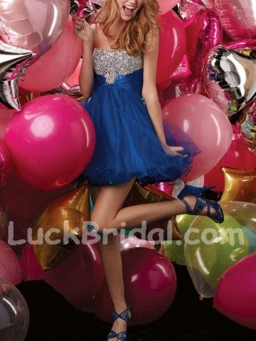 Blue Organza Beading Sleeveless Homecoming Dresses