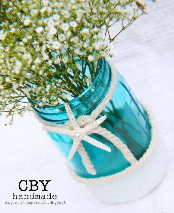 Spiaggia tema vetro Vaso centrotavola - Mason Jar partito forniture - centrotavola floreale