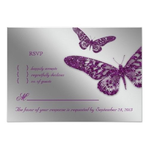 Butterfly RSVP Wedding Cards Butterfly RSVP Wedding Reply Card Purple