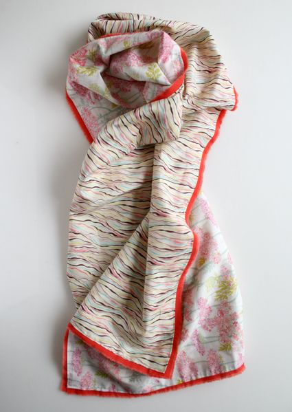 """""""crisp Spring scarf that combined two gorgeous Tana Lawn Prints and brought them together with a bright burst of color around the edge.""""  I love this scarf!  The website has a tutorial to make this simple cotton scarf."""