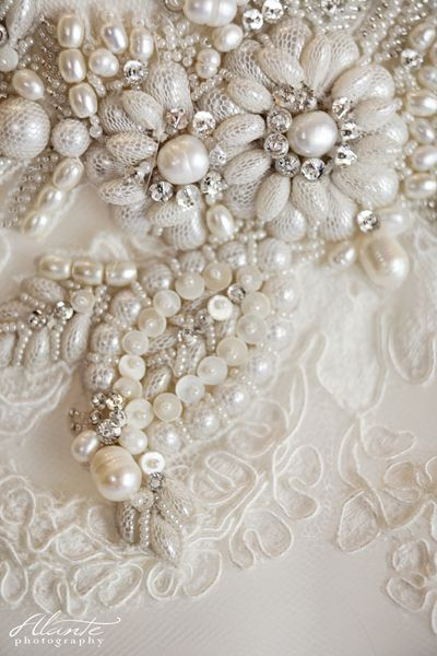 Lazaro wedding gown beading. Love how they covered some pearls in netting