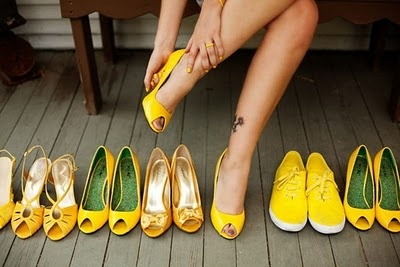 yellow shoes, all in a row would be perfect for @Terri Barger