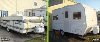 DIY Camper Trailer Built from an Old Pop-Up on a Budget of $4500. Check out this professional looking lightweight camper trailer built from a beat up pop up camper chassis from the ground up! The owner did it on a budget of just $4500! #diyproject #rvremodel
