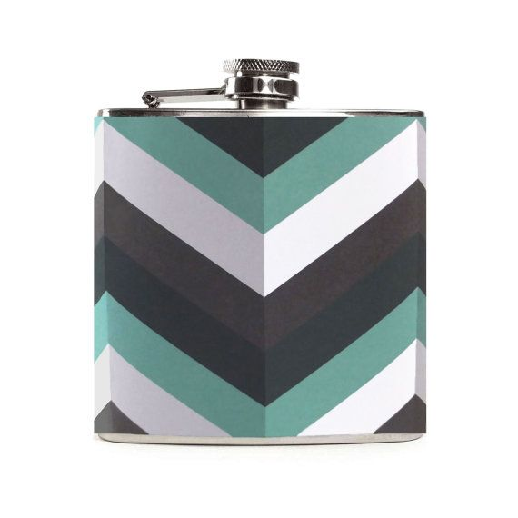 Cool Flask Custom Chevron Flask Mint Green by CameronsJewelryBox