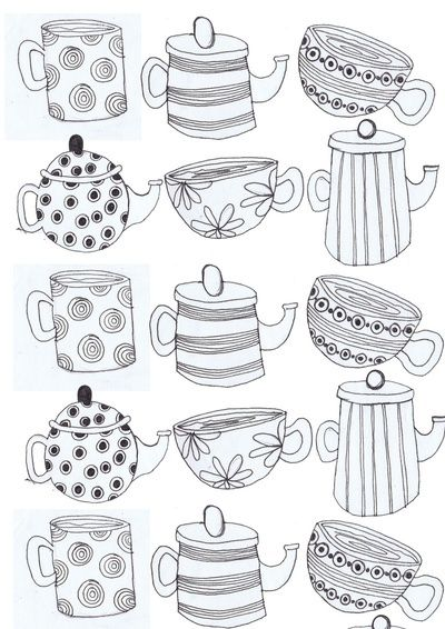 tea cups and Tea pots Art Print