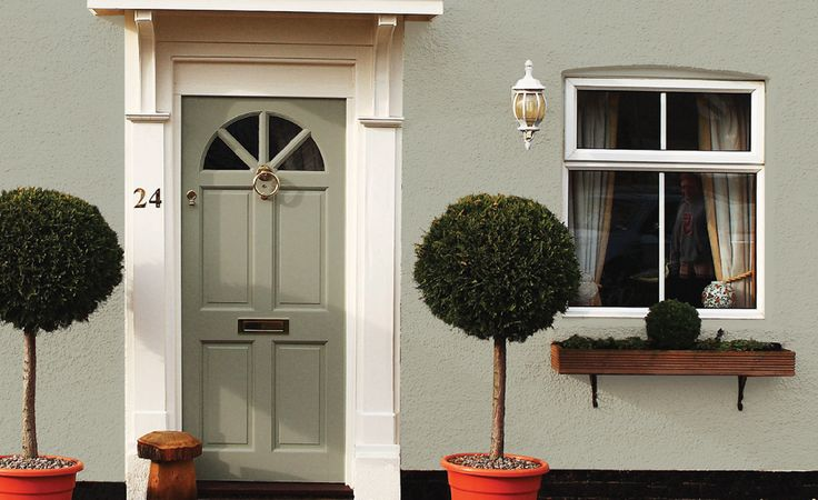 Sandtex® PVC-u Primer then use Sandtex exterior satin in Bay Tree (pictured colour). Bye bye dreary white!
