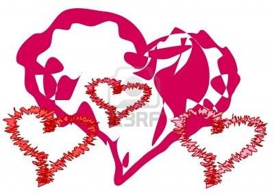 Large heart and three small  hearts