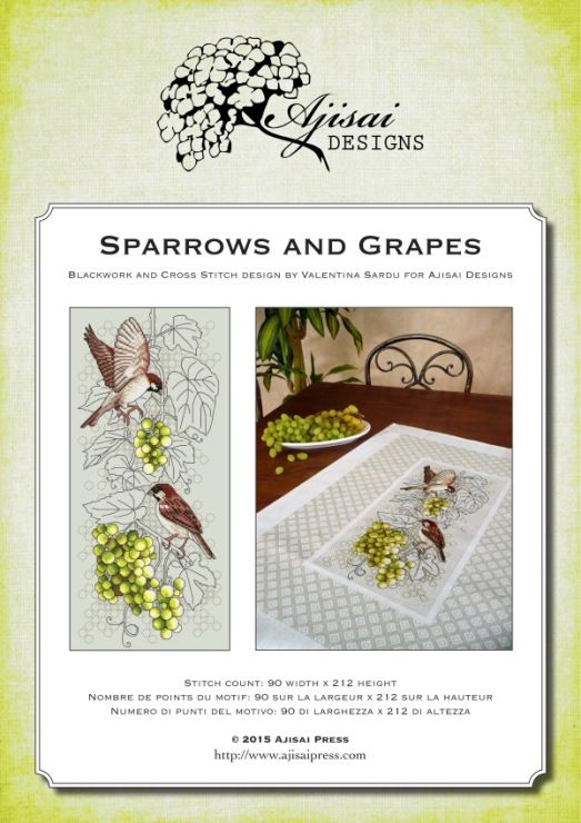 Gallery.ru / Фото #2 - Ajisai Designs - Sparrows and Grapes - tymannost