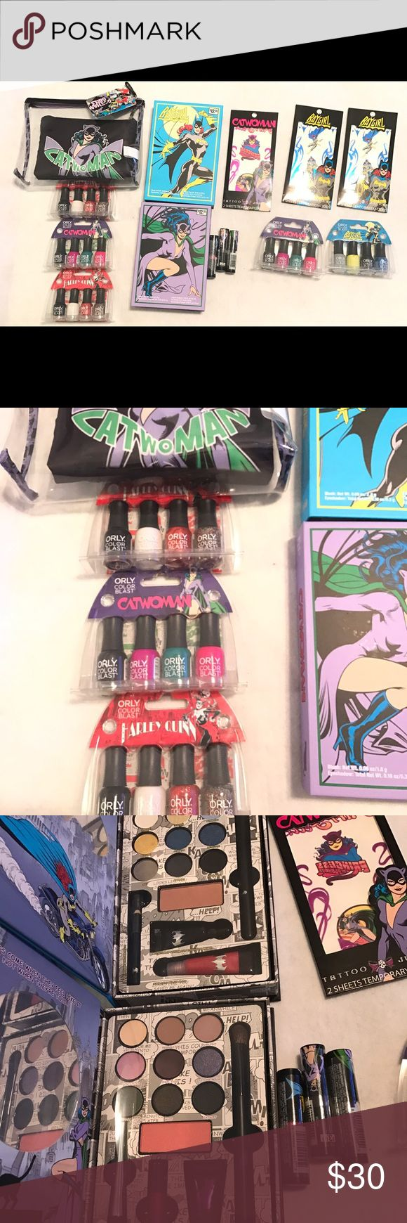 DC Super Hero makeup and polish set All brand new Cat women, Bat girl makeup sets and bags. Eye shadow, blush, lip gloss palette, 5 orly 4 piece nail polish set, cat women makeup bag that's includes two, bat girl lipstick and 3 Tatoo sets. Great as a Christmas gift or stocking stuffers. Makeup