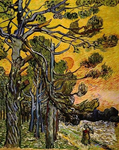 Vincent van Gogh: Pine Trees against a Red Sky with Setting Sun.  Oil on canvas.  Saint-Remy: November, 1889.  Otterlo: Kroller-Muller Museum.