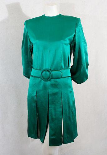 Emerald green satin dress 1970s