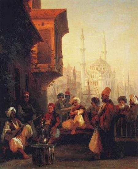 Coffee-house by the Ortakoy Mosque in Constantinople by Ivan Constantinovich Aivazovsky