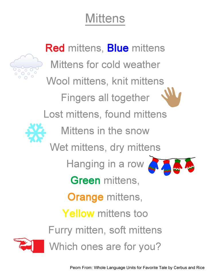 poems about mittens - Bing Images