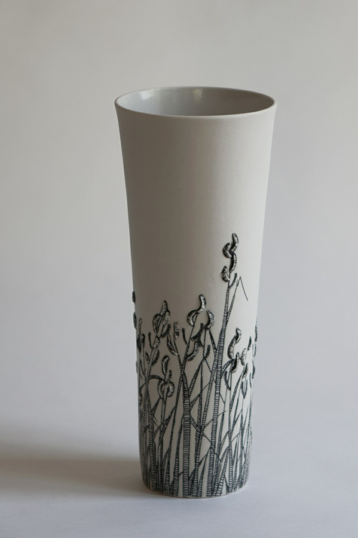 """Eunice Botes - """"Wild grass""""  White porcelain with sqraffito and sprigs"""