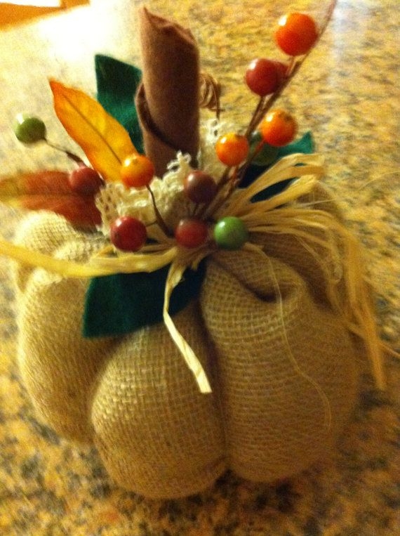Adorable Burlap Pumpkin Fall Thanksgiving by aDOORnaments on Etsy