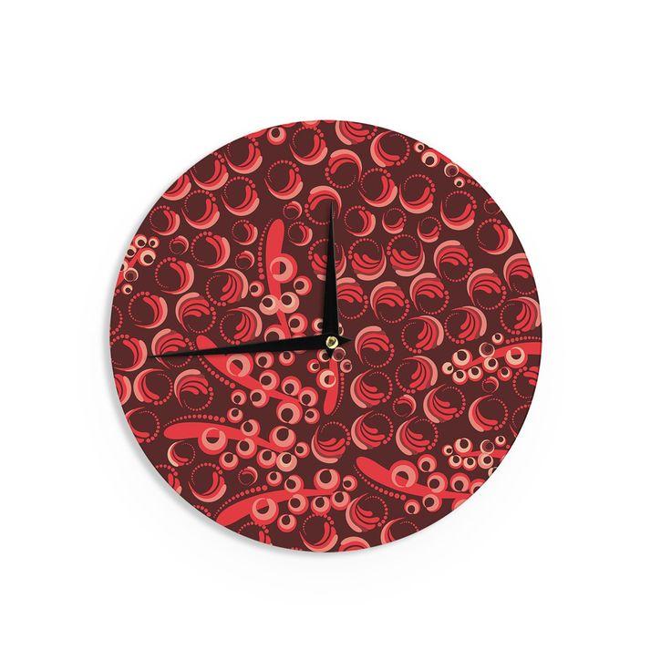 Kess InHouse Maria Bazarova 'Berry' Red Maroon Wall Clock (Berry), Size 12 (Wood)