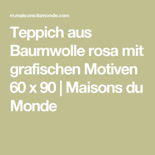 Vintage Teppich aus Baumwolle rosa mit grafischen Motiven x Maisons du Monde