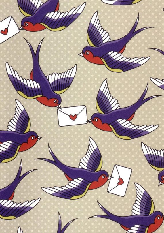 """To bring you my love."" Vintage-style image of swallows carrying love letters greeting or birthday card, $3.00"