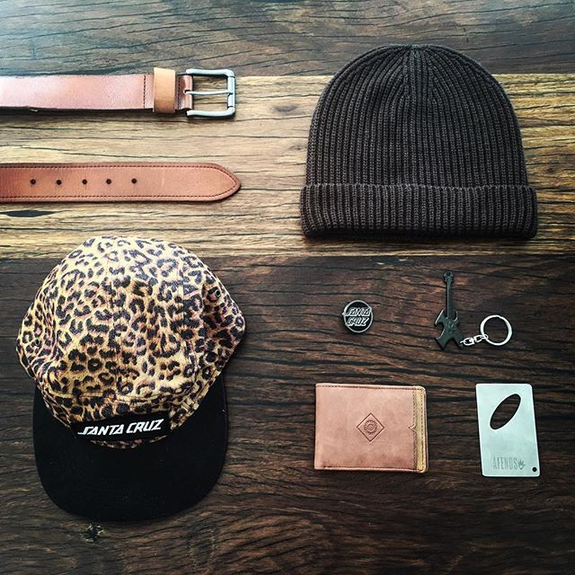 MONDAY FLATLAY | starting the week with a rugged and relaxed palette of leopard, tan and chocolate coloured accessories #custom #accessories #headwear #beanies #cool #merchandise developed by @thesaucesuppliers #surfwear #streetwear #skatewear #lifestyle #hipster #hipsterfashion.  Custom mens accessories | custom headwear | custom panel cap | custom wallet | custom leather belt | custom bottle opener | custom keychain