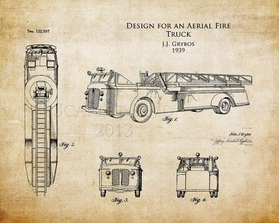 236 best old school and other fire service items images on pinterest 1930s aerial fire truck patent art print fire truck blueprint art firefighter art firetruck art husband gift christmas gift for him malvernweather Choice Image