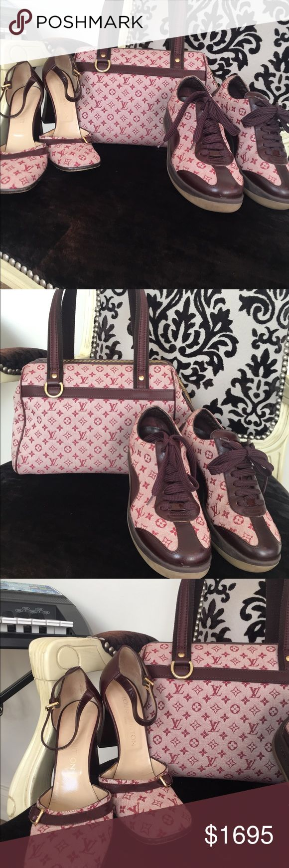Bundle, Authentic Louis Vuitton handbag and shoes Today ONLY  Cranberry sneakers, Maryjane shoes. And handbag. Chic, stylish and a must have !!! All items are in excellent condition. I can lower the price a little if your interested !😀 Louis Vuitton Accessories