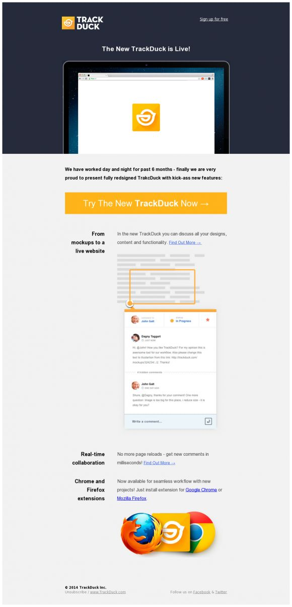 TrackDuck Launch » Beautiful Email Newsletters