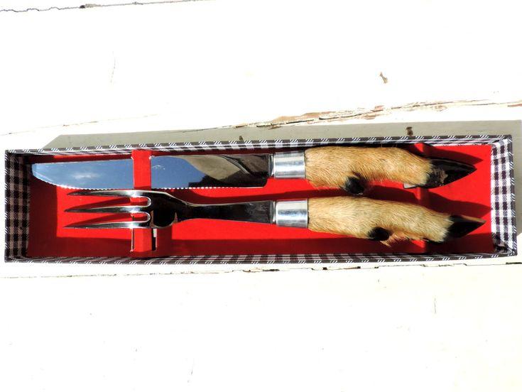 French Vintage Carving Set/French Vintage Deer Hoof Carving Knife and Fork Set/Vintage Carving Knife And Fork/Vintage Deer Hoof Knife by SouvenirsdeVoyages on Etsy